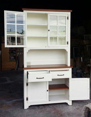 鄉村家具 客製化 訂製品 美生活館 茵儷 雙色 (深木色+象牙白色) 餐櫃 碗盤櫃 收納櫃 茶水櫃 也可修改尺寸報價