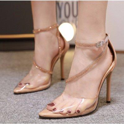 ❀  Diamante detail heel  高跟鞋透明水鉆尖頭單鞋女鞋 nvxie