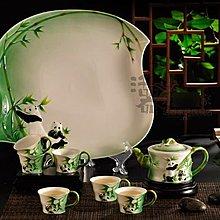 5Cgo【鴿樓】會員有優惠 13211471380 國寶掬翠 整套功夫茶具套裝 陶瓷茶壺禮品 琺琅茶杯