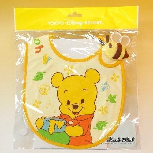 Ariel's Wish-日本迪士尼阿卡將小熊維尼離乳學習二合一用餐軟布口袋收納圍兜兜BABY滿月彌月周歲禮--日本製-