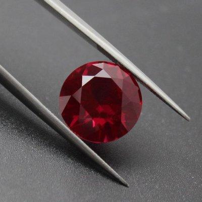 泰合緣 正圓形紅寶石緬甸天然寶石粉熔裸石戒指戒面