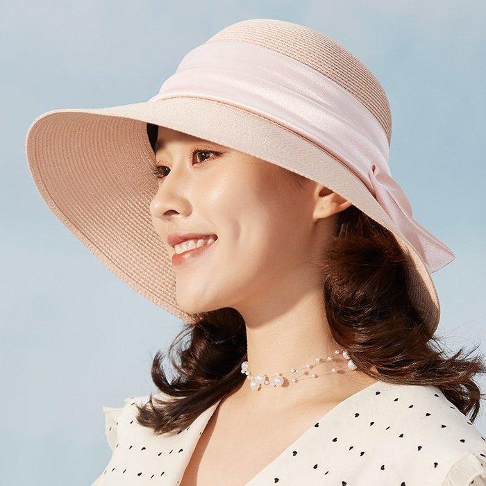 草帽女夏天韓版出游沙灘度假百搭遮陽帽折疊大沿防曬紫外線太陽帽夏季外出必備遮陽帽