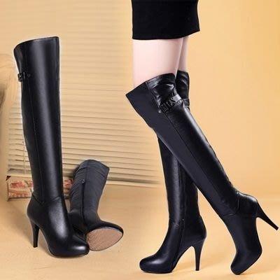 真皮過膝靴 高跟長靴-金屬字母裝飾時尚女鞋73iv5[獨家進口][巴黎精品]