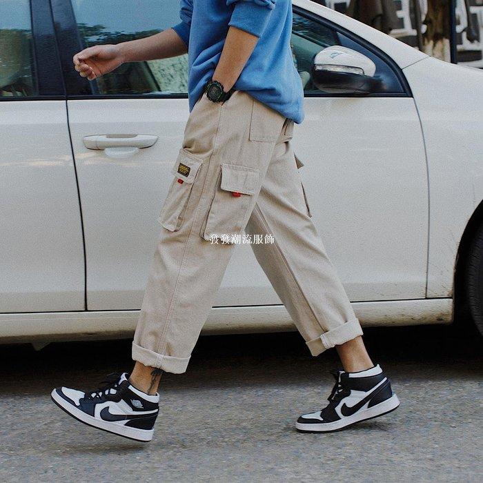 發發潮流服飾工裝褲男士春夏日系休閒寬松哈倫褲薄款潮流多口袋潮牌直筒男褲子