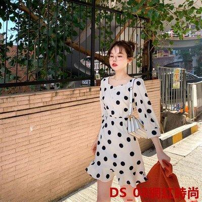 DS_08網紅時尚很仙的法國小眾連衣裙春裝2019款超仙氣質修身A字短袖連衣裙女潮