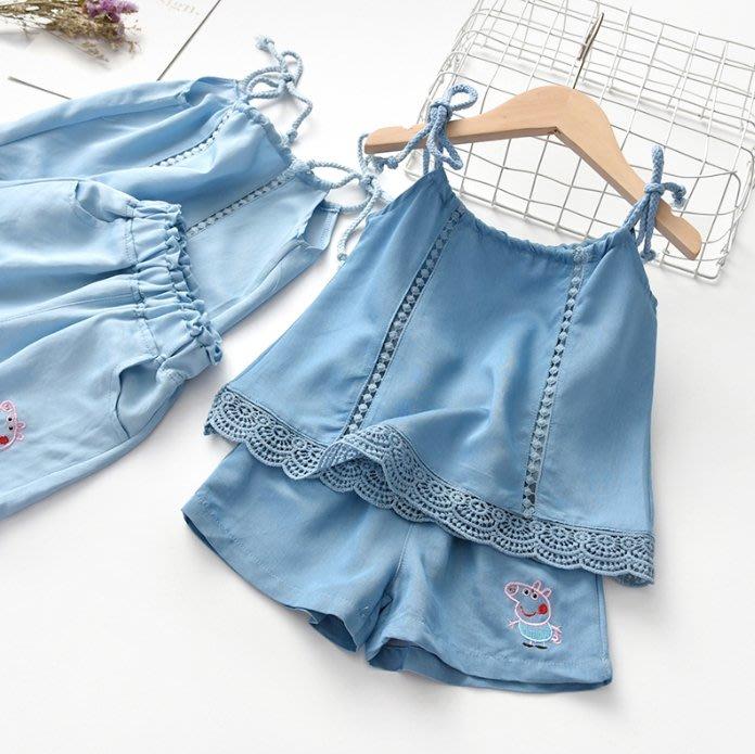 •*~ 辣媽咪衣飾小舖 ~*•❤童裝系列❤K030206韓版兒童夏款甜美可愛洋氣吊帶上衣+短褲二件套