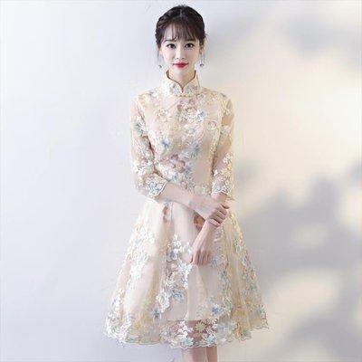 旗袍洋裝 改良旗袍連身裙長袖時尚短款少女端莊大氣年輕款祺袍--大城小鋪