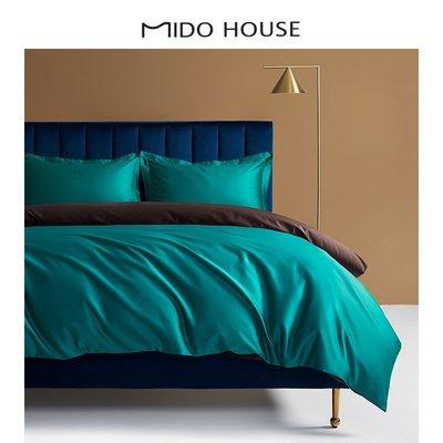 淘趣雜貨店/MIDO HOUSE100支匹馬棉純色雙色四件套床單床笠式 網紅款床上用品(型號不同價格不同)