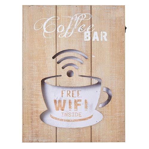 LED的咖啡木製指示牌