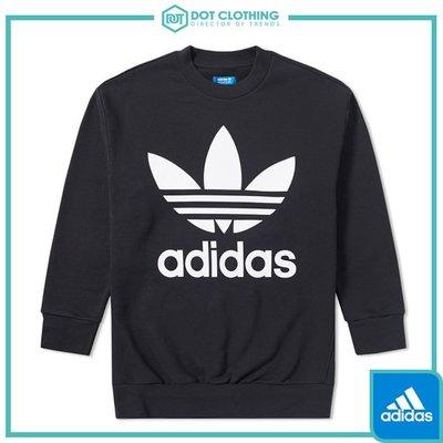 DOT聚點 Adidas Crewneck 黑 三葉草 大logo 大學T 黑白 寬版 長袖T 男 BQ1814