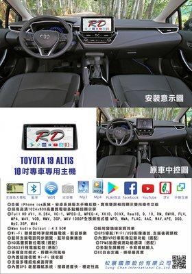 RD松展國際 TOYOTA 19- ALTIS 12代 10吋安卓專用主機