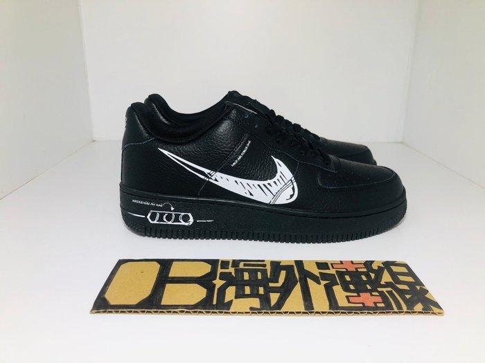 【OB海外連線】NIKE Force 1 Low 07 AF1 黑 全黑 塗鴉 皮革 基本 男女鞋 CW7581-001