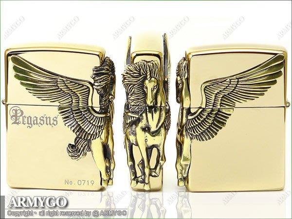 【ARMYGO】ZIPPO原廠打火機-日系-Pegasus系列-飛馬限量款 (金色款)