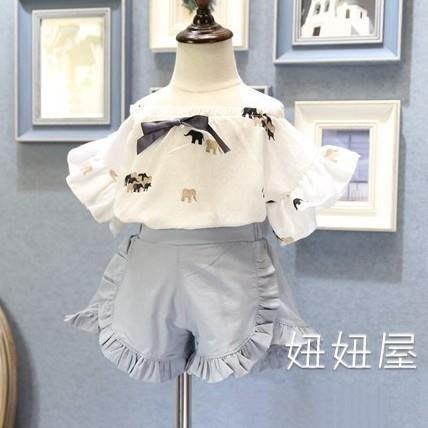 童裝女童套裝韓版兩件套夏季新款女童系帶大象休閒短袖T恤 短褲套裝潮  明天結束