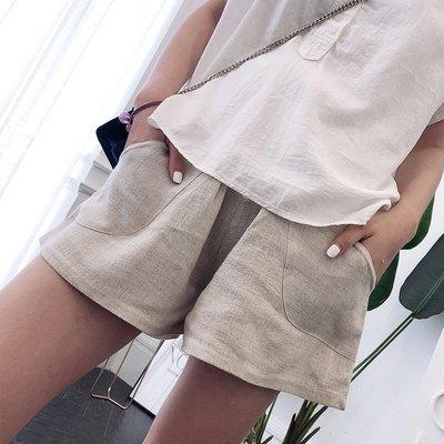 【愛媽媽孕婦裝】韓國質感優雅街頭風媽咪簡約休閒孕婦棉麻托腹短褲孕婦短褲