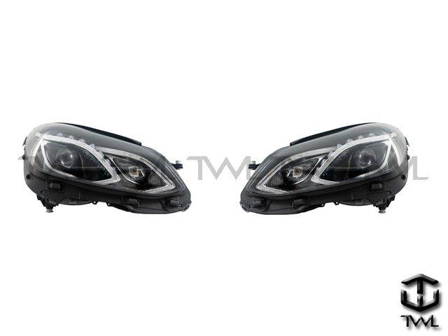 《※台灣之光※》全新 賓士 BENZ W212 09 10 11 12 13 年 黑底魚眼投射箭頭大燈