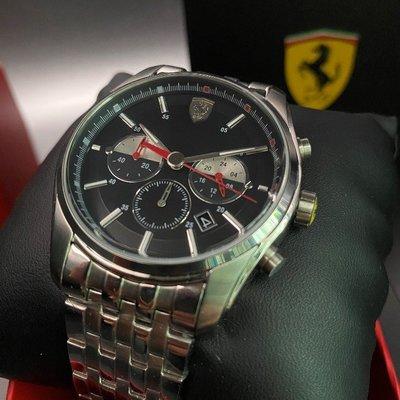 FERRARI法拉利男錶,編號FE00022,42mm銀圓形精鋼錶殼,黑色三眼, 運動錶面,銀色精鋼錶帶款