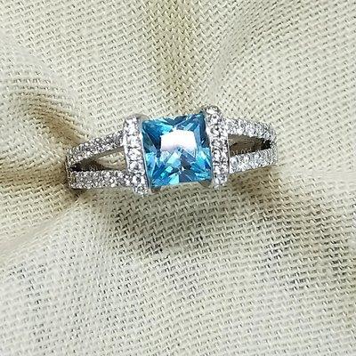 湖水藍鑽一克拉主石綠鑽高碳鑽戒指925...