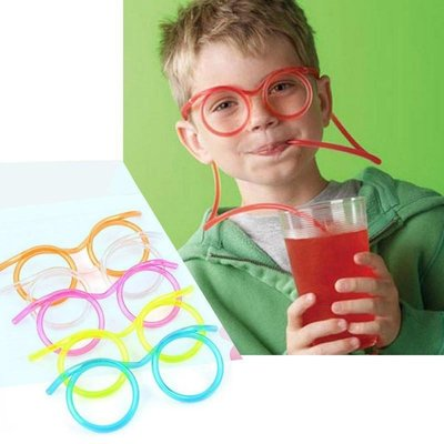 Funny Soft Glasses Straw Plastic Drinking Tube Party game