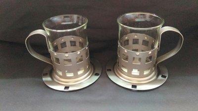 玻璃杯金屬杯墊組(2客)