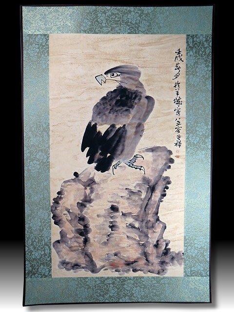 【 金王記拍寶網 】S1323  中國近代書畫名家 名家款 水墨 老鷹圖 居家複製畫 名家書畫一張 罕見 稀少