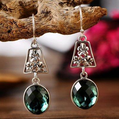 加恩S925銀飾綠水晶花朵耳環長款復古女式耳墜飾品-zz09