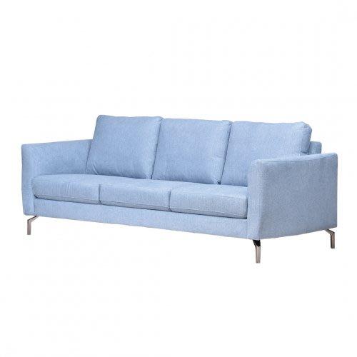 【歐雅系統家具】里瑟鋼骨布沙發-三人座-灰藍