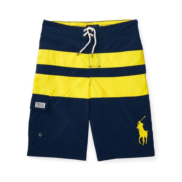 美國百分百【Ralph Lauren】衝浪褲 RL 口袋 大馬 泳褲 海灘褲 短褲 條紋 S號 深藍/亮黃 H870