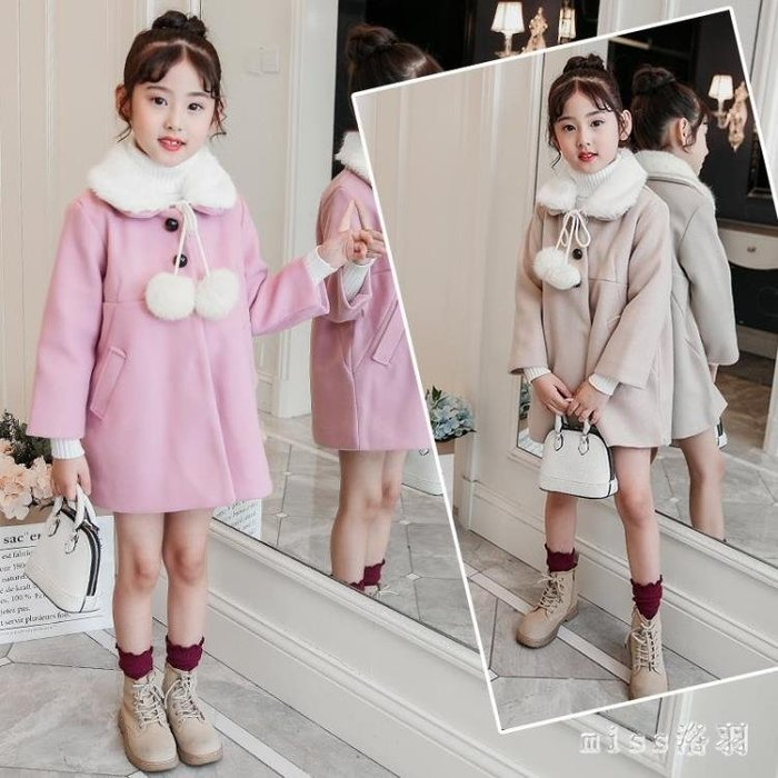 中大尺碼外套 女童娃娃領呢子衣新款韓版加厚5加絨6中大童7冬季9歲女孩外套 js18639【miss洛羽】