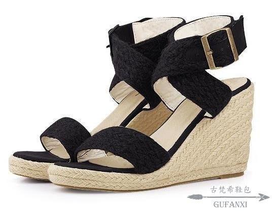坡跟涼鞋 女士坡跟歐美手工編織厚底涼鞋高跟交叉帶涼鞋女羅馬女鞋