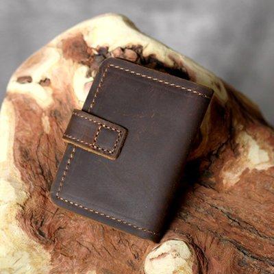 名片夾真皮信用卡夾-簡約棕色瘋馬牛皮男女皮夾73vp9[獨家進口][米蘭精品]