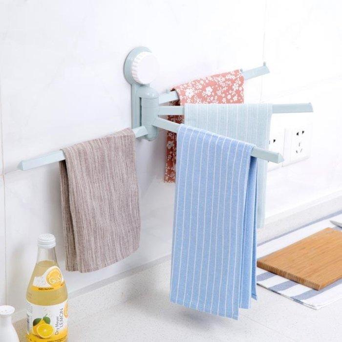誠信家具 雨露浴室衛生間掛架廁所免釘晾毛巾桿吸盤式旋轉四桿免打孔毛巾架