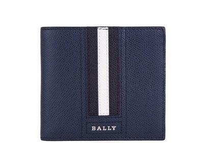 ╭☆包媽子店☆ BALLY 經典條紋錢包皮夾TRASAI.LT 牛皮短款錢包~((3色現貨))
