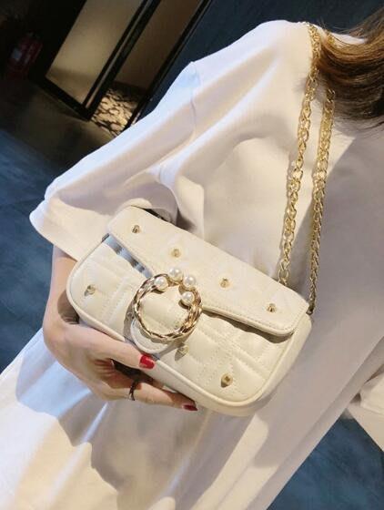 FINDSENSE X 韓國 女士 時尚珍珠鉚釘 多功能斜挎包 側背包 單肩包 小方包