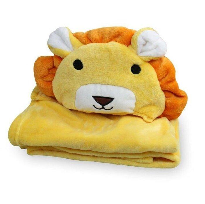 CA-02可愛動物連帽隨意毯 動物保暖毯 雙面毛料嬰幼兒 毛毯   嬰幼兒 包巾 抱毯