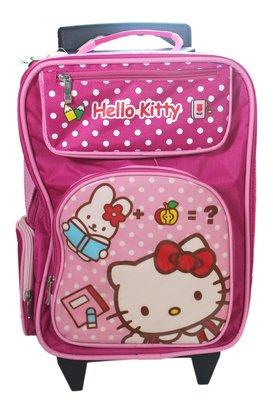 【卡漫迷】 Hello Kitty  桃紅點點 拉桿式背包 ㊣版 兒童 背包 書包 凱蒂貓 旅行箱 拉桿 三麗鷗