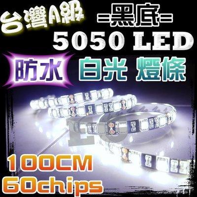 G7D76 台灣A級 5050 LED 黑底 白光 緊密型-1米 1公尺 60顆(防水)軟燈條 車底燈 氣氛燈 裝飾燈