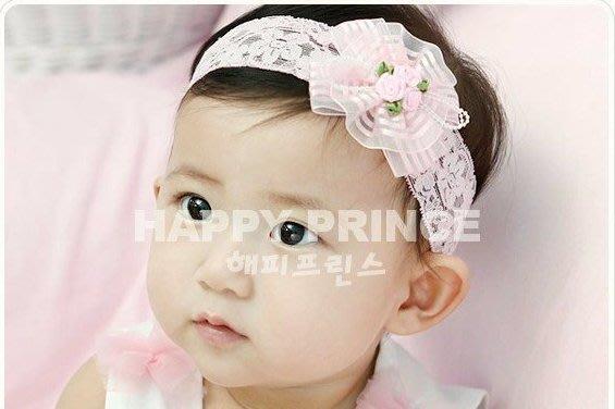 HM嬰幼館~Q116~ 韓國 女童嬰兒小公主寶寶髮帶 髮飾 頭飾 頭花 蕾絲玫瑰花珠珠蝴蝶