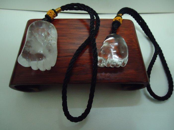天地 藝品 天然 白 水晶 晶雕 ( 知足 常樂 ),( 唯吾 知足 ) 如意 晶雕 大小 掛件 總重 34 公克 A9