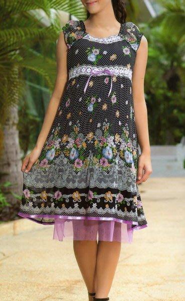 ~╮十月美人╭~只賣119元~9721~恬麗夏妝漸層次壓摺網紗裙印花洋裝~