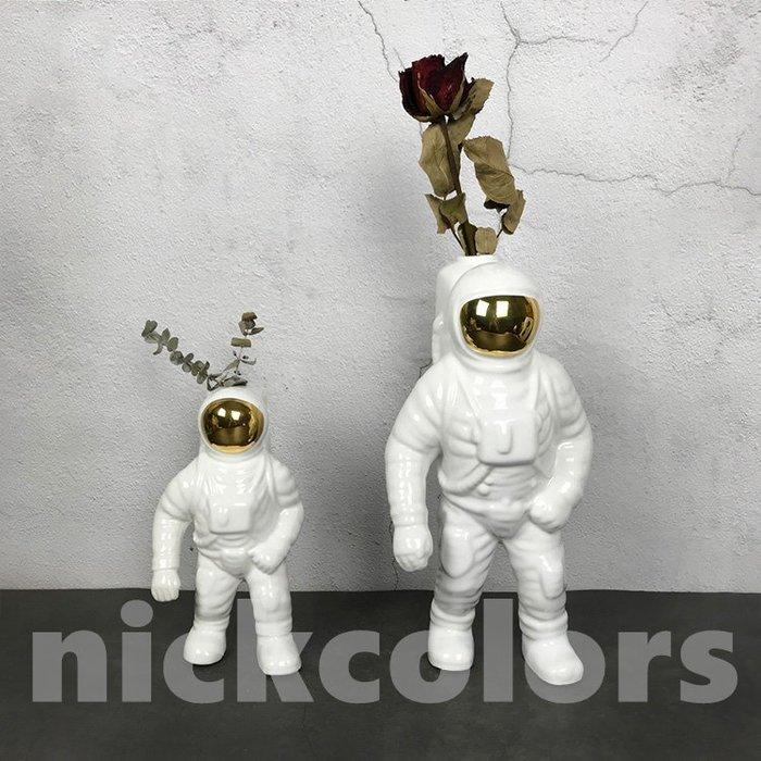 尼克卡樂斯~宇航員太空人花器擺飾品 陶瓷花器 藝術擺件 陶瓷裝飾品 商空擺設