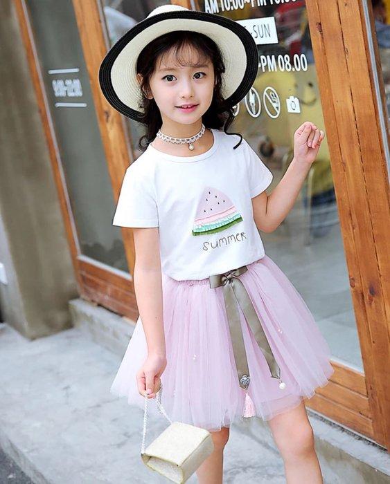 QQ羊*A402套裝 質感水果西瓜圓領短袖上衣+網紗短裙兩件式套組 韓版女童蓬蓬裙套裝 公主裙,90-150cm