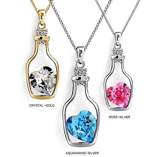 【Asiahito】愛情漂流瓶〈瓶中鑽〉SWAROSVKI 鑽石項鍊(LOVE IN HERE)