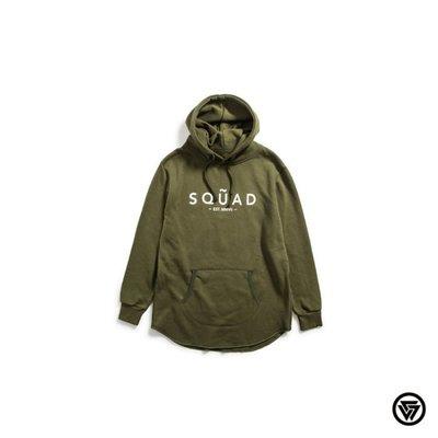 (MARVELOUS)SQUAD  Logo Long version Hoodies LOGO長版不收邊帽TEE墨綠色
