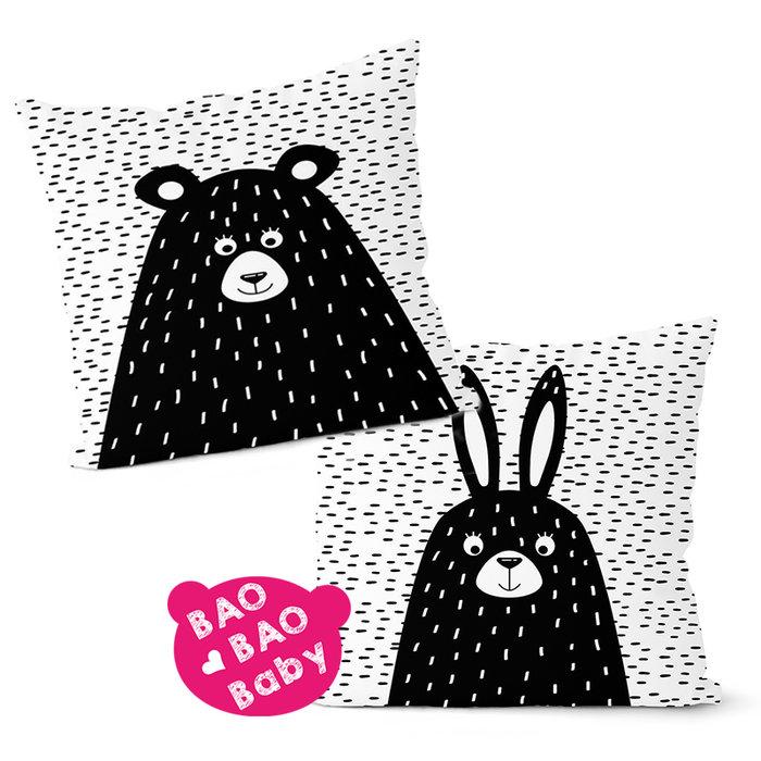【寶貝日雜包】北歐童話黑白原創抱枕套 小熊抱枕套 沙發抱枕 靠枕 卡通抱枕 枕套 方型抱枕