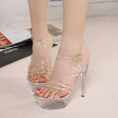 圓頭高跟鞋 水晶婚鞋-細跟透明露趾搶眼女鞋子2色73e6[獨家進口][米蘭精品]