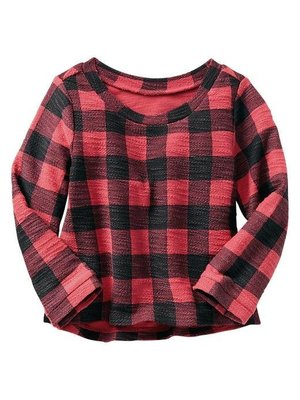 【Julia Shop 全新現貨】GAP小女童Checkered slub sweatshirt格紋上衣  / 5T