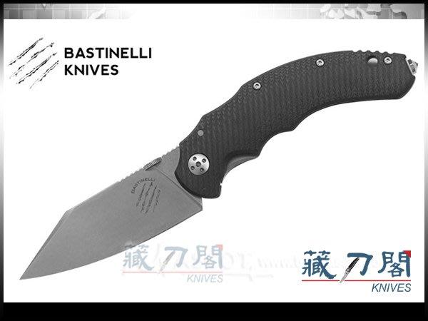 《藏刀閣》Bastinelli-(DRAGO COMPACT)德拉戈黑色G-10柄折刀(石洗)