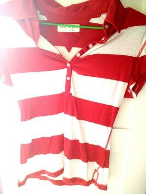 一元起標美國帶回專櫃tommy jeans近全新紅白條紋純棉Polo衫