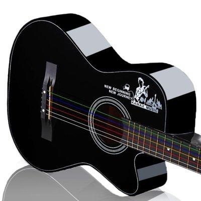 想紅角初學者民謠木吉他38寸新手入門練習男女吉它jita樂器琴WD